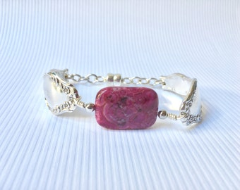 Zodiac Birthday Bracelet, Pink Agate Gemstone Bracelet, Gift Mom Gift , Spoon Bracelet, Birthstone For Gemini, Mother's Day Gift for Mom