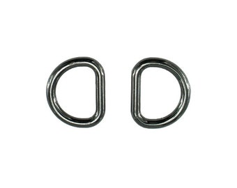 2 pieces Dark Silver Gunmetal D-Ring 22mm (inner diameter) for Purse Chain Strap d-ring, Purse Findings, Keychain, Purse Ring