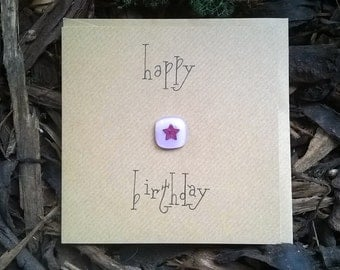 Hand crafted gift card 'Happy birthday' - With removable keepsake fused glass tile copper star