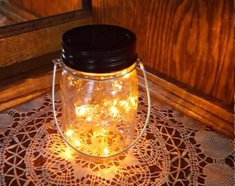 Mason Jar Solar Lid Light - Orange - Angel Lights - Firefly Lights - solar mason jar, mason jar light, fairy lights, mason jar solar lid