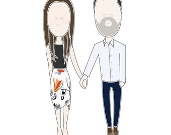 Custom Couples Portrait -COLOUR. Quality A4 print. Perfect gift idea