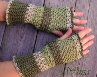 Crochet fingerless gloves Arm warmers Crochet mittens  Knitted fingerless gloves Spring gloves  Green knit gloves Boho gloves Woodland mitts
