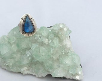 LABRADORITE RAY RING Sterling Silver Hand Made size 7.5