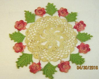 DOILY With PINK FLOWRS Green Leaves And a Lacy Center
