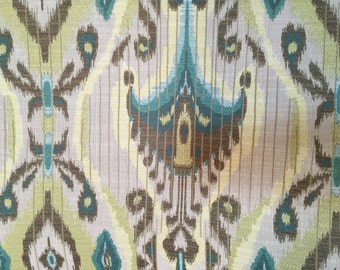 Teal - Green - Brown -Tribal - Ikat - Upholstery Fabric by the Yard
