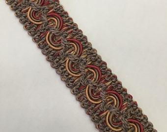 Flat Braid - Taupe, Orange, Gold Braid