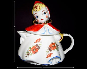 Regal  Red Riding Hood Teapot with Gold Decoration and Great Decals