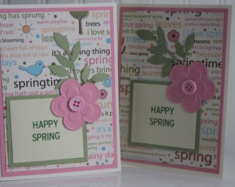 Spring Greeting Card.  Handmade Card Happy Spring.  Blank Card. Spring Thank you Card. Easter Card. Spring Words. Seasonal Card
