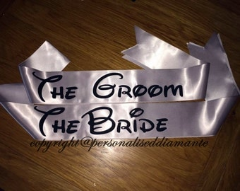 Groom sash, the groom sash , the bride sash , bride sash , sash, personalised sash , personalized sash . bridesmaid sash , groomsmen sash