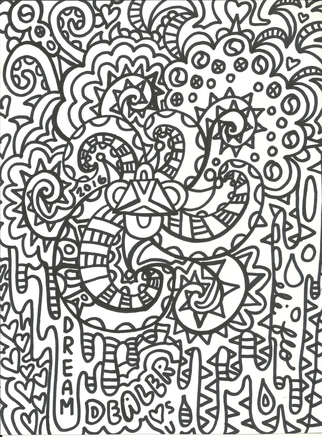 adult coloring book psychedelic unique designsdigital download 5 jpeg files print your own unlimited ydd art prints - Design Coloring Books