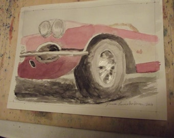 1958 Corvette, original,watercolor,painting