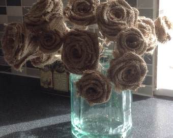 Handmade Hessian/Burlap Roses on wire stems x 25