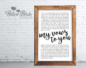 Wedding Vows Print, Personalized, Wedding Keepsake, Anniversary Gift, Wedding Shower Gift, 11x17 Print