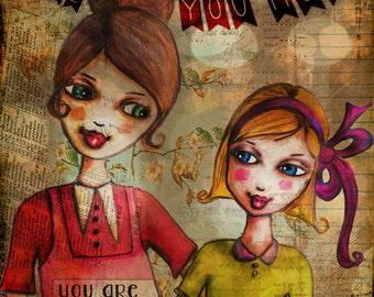 art print, mixed media art, whimsical girl art, inspirational art, inspirational wall art, inspirational artwork, inspirational print