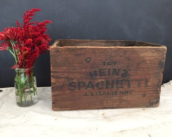 Heinz Wood Box - Vintage Wooden Crate - Display Wood Crate - Advertising Crate - Ketchup - Spaghetti - Tomato Soup - Heinz 57 - Antique