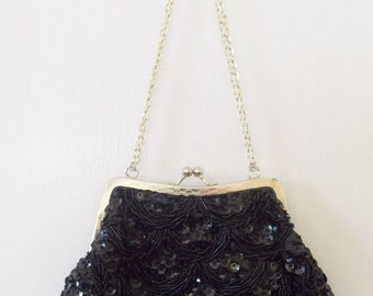 "FINAL MARKDOWN! Vintage Signed ""Walborg"" Black Beaded Evening Purse Handbag"