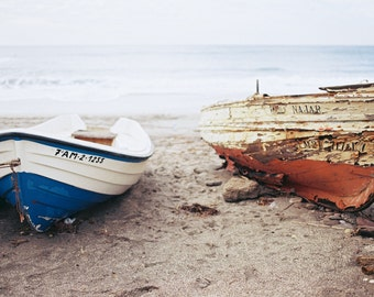 Spain. Ocean Boats. Teal Blue Sand. Fine Art Photography, Wall Decor, Large Print, Cabin, Cabin Decor, Nautical Print