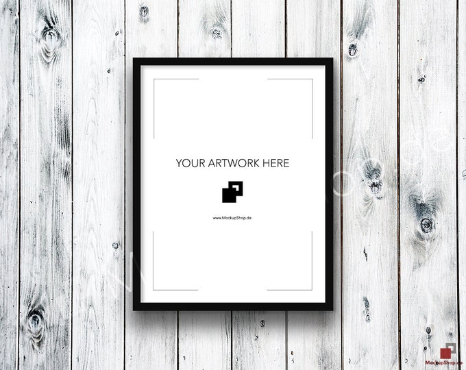 11x14 FRAME MOCKUP BLACK / Styled Photography Poster Mockup, old wooden white grey wall, Framed Art, Instant Download / Frame Mockup