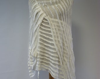 Sale. Amazing transparent off-white top, L size. Handmade, very artsy look.