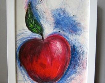 Framed Apple Oil Drawing