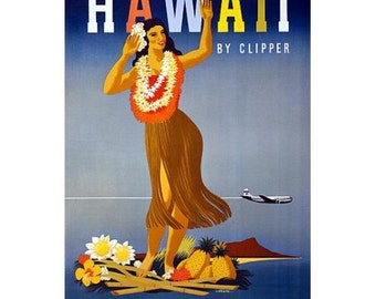 SALE - Hawaiian Hula Girl Travel Poster, Hawaii By Clipper  - 18x24 inch Vintage Hawaiian Tourism Print