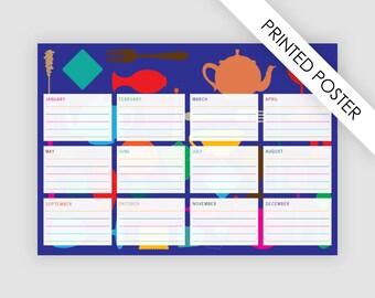 Birthday calendar for kids and adults, printed poster, geometric calendar, animal calendar, kids wall art