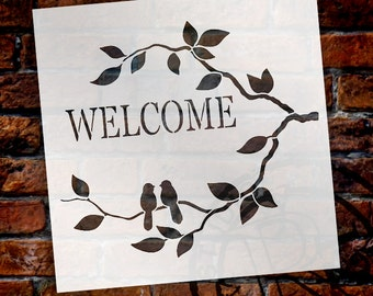 Birds of Welcome - Word Art Stencil-Select Size- STCL697 by StudioR12