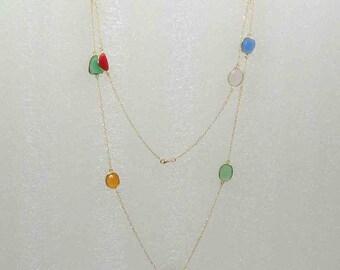 Multi Semi- Precious Stones 22k Gold Plated Bezel Necklace.