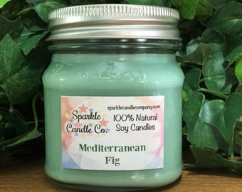 MEDITERRANEAN FIG Scented Soy Candle | 8 oz Mason Jar | Homemade Candle | Fig Candle