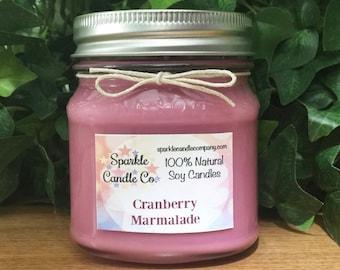 Mason Jar Candle - CRANBERRY MARMALADE - Scented Soy Candle - Homemade Candle - 8 oz Mason Jar - Winter Candle - Holiday Candle
