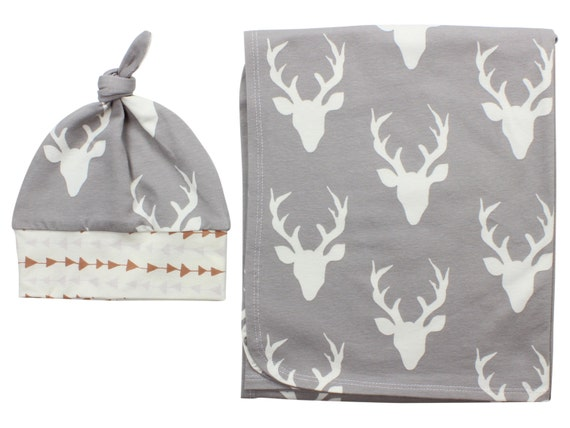 Gray Buck Deer Newborn Swaddle Set Swaddle Blanket Boy Top Knot Hat Boy Swaddle Set Stag Deer Blanket Jersey Swaddle Baby Blanket Gray Deer