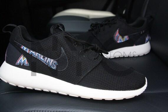 97c9d6da959b3 Miami Marlins Nike Roshe Run Black Custom Men   Women by NYCustoms 85%OFF
