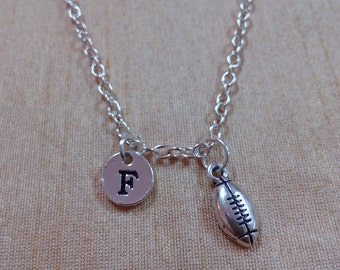 KIDS SIZE - Football charm necklace - football necklace, sports jewelry, quarterback necklace, football jewelry, silver football necklace