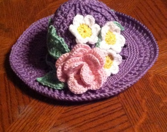 Hand Crocheted Spring Flowers Hat
