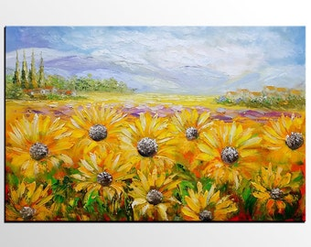Canvas Art, Sunflower Painting, Abstract Art, Large Art, Oil Painting, Impasto Art, Canvas Painting, Original Painting, Landscape Painting