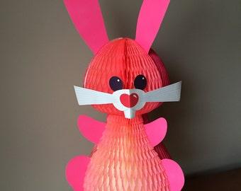 Adorable Vintage honeycomb Easter bunny decoration, ephemera, Happy Easter, kitschy, bunnies, centerpiece