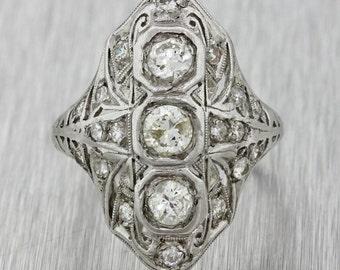 1920s Antique Art Deco Estate Platinum 0.75ctw H I SI2 Diamond Filigree Ring