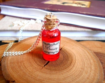 Beauty Potion Bottle Charm Necklace - Once Upon A Time - Fairy Tale Jewelry - Beauty and The Beast - Magic Spells - Kawaii Charm Necklace