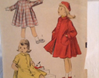 Advance vintage girls coat pattern, size 4.