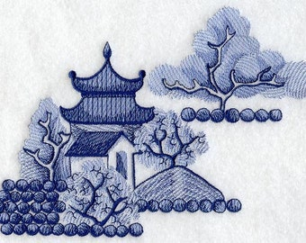 BLUE WILLOW ISLAND Chinoiserie Blue and White Scene Pagoda Machine Embroidered Quilt Square, Art Panel