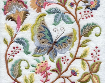 JACOBEAN BUTTERFLY BLOCK Crewel Work Look Tapestry Machine Embroidery Quilt Square