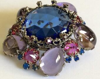 Radiant Vintage Schreiner N.Y Brooch Pin~Blue/Lilac/Purple/Fuchsia Pink Rhinestones/Silver Tone~Signed