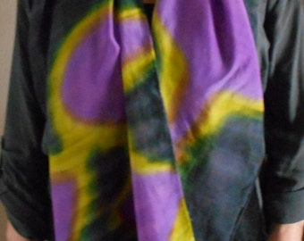 """Silk Scarf, 22""""x72"""", Abstract Collection-black, purple, chartreuse"""