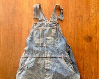 Vintage 1960s MONTGOMERY WARDS Sanforized Indigo Denim Work OVERALLS 36x31 Destroyed Jeans Levis Lee Wrangler