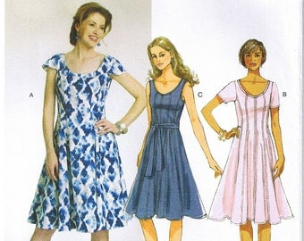 Easy Misses Fitted Flared Dress Raised Waist Belt Butterick 5745 Sewing Pattern Size 16 18 20 22 24