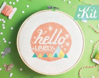 Modern Cross Stitch KIT, Funny cross stitch kit, Quote cross stitch, Modern Embroidery kit, DIY kit, Funny Needlepoint kit - Hello Lovely