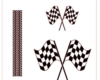 Checkered Auto Racing Flag and Race Car Tire Tracks Stencil