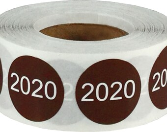 "Year 2020 Year Stickers for Inventory | 0.75"" Inch Round Brown with White Font 