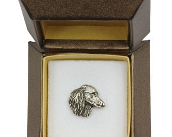 NEW, Dachshund long haired (head) , dog pin, in casket, limited edition, ArtDog