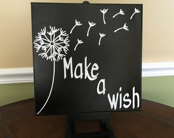 12X12 Make A Wish Canvas Sign
